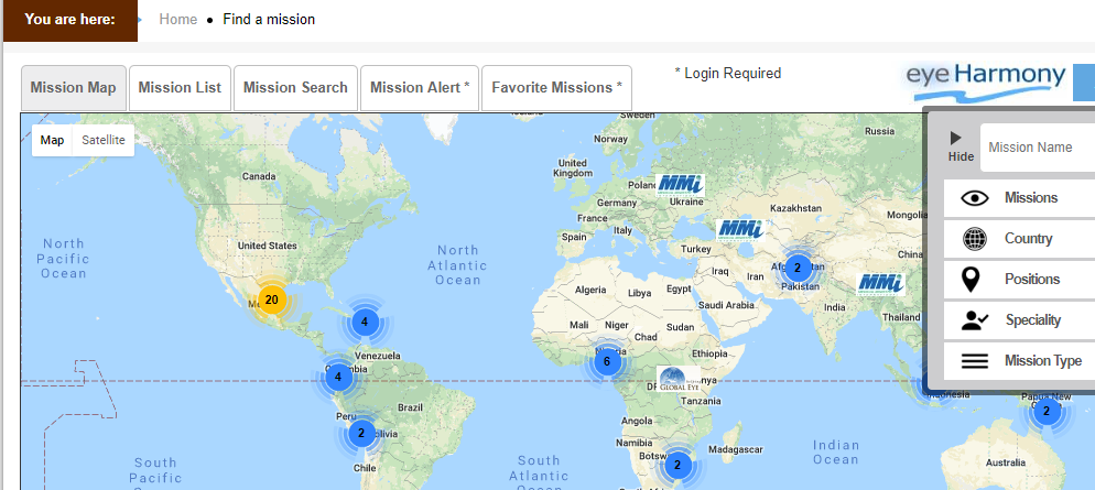 Global Sight Alliance Missions Map